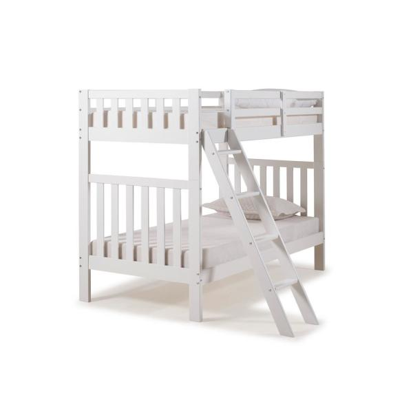 Alaterre Furniture Aurora White Twin Over Twin Bunk Bed AJAU00WH