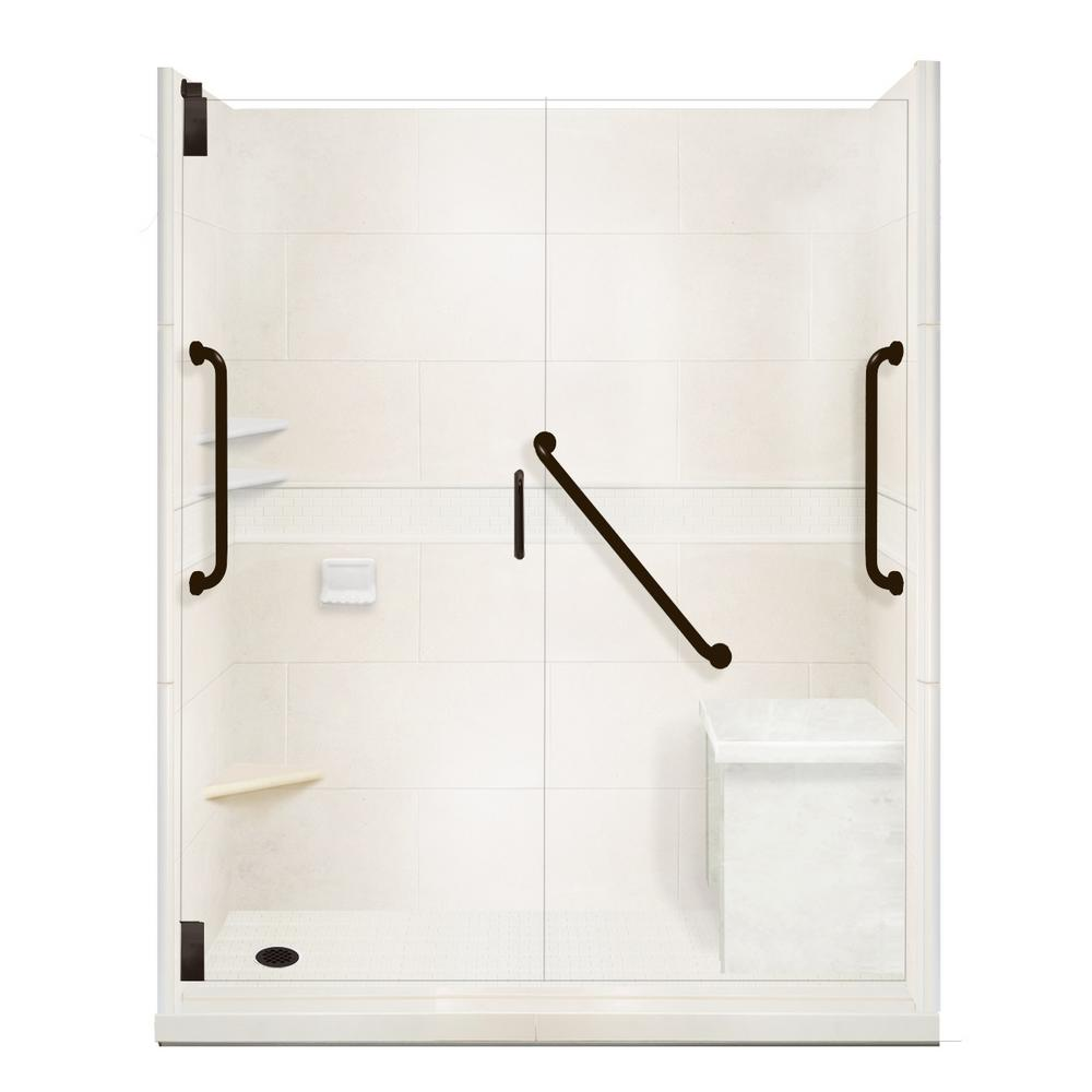 American Bath Factory Classic Freedom Grand Hinged 34 in. x 60 in. x 80 in. Left Drain Alcove Shower Kit in Natural Buff and Black Pipe