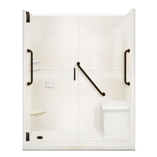 La nuestra Partina City Separación  American Bath Factory Classic Freedom Grand Hinged 36 in. x 60 in. x 80 in.  Left Drain Alcove Shower Kit in Natural Buff and Black  Pipe-AFGH-6036NC-LD-BP - The Home Depot