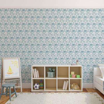Baby Collection Lions in Teal Removable and Repositionable Wallpaper