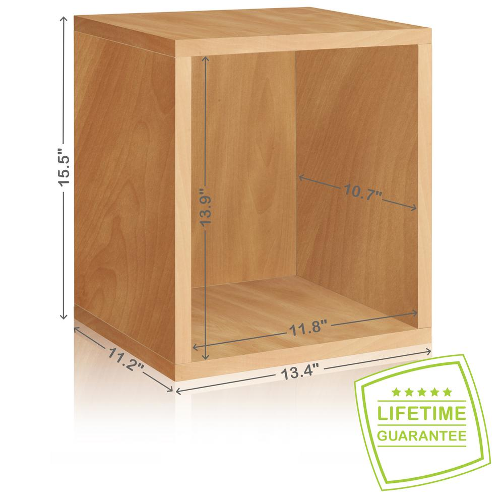 Way Basics Eco Stackable zBoard  11.2 x 13.4 x 12.8 Tool-Free Assembly Tall Storage Cube Unit Organizer in Natural Grain
