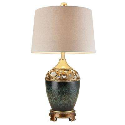 29.5 in. Sedona MarbelizedGreen Gold Footed Table Lamp