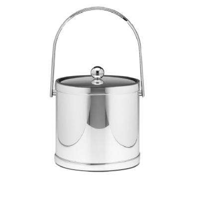 Mylar 3 Qt. Polished Chrome Ice Bucket with Track Handle and Metal Lid