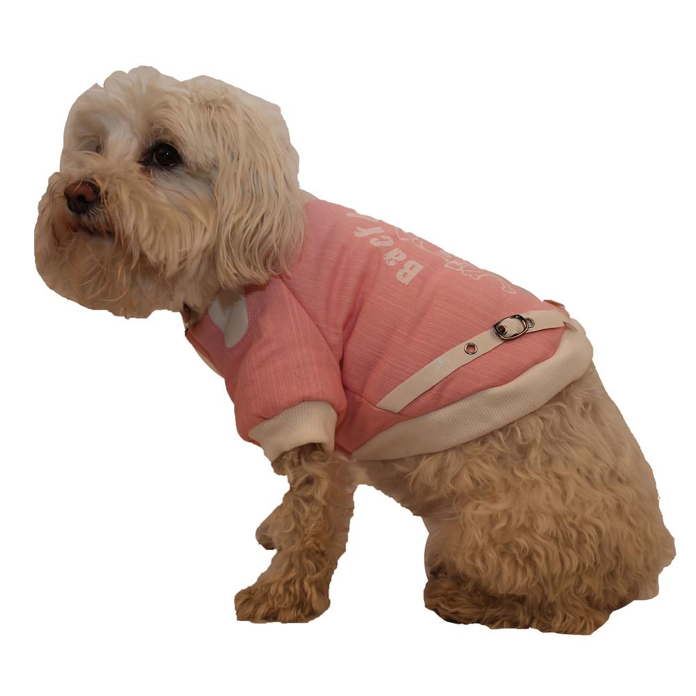 PET LIFE Medium Pink Varsity-Buckled Collared Pet Coat