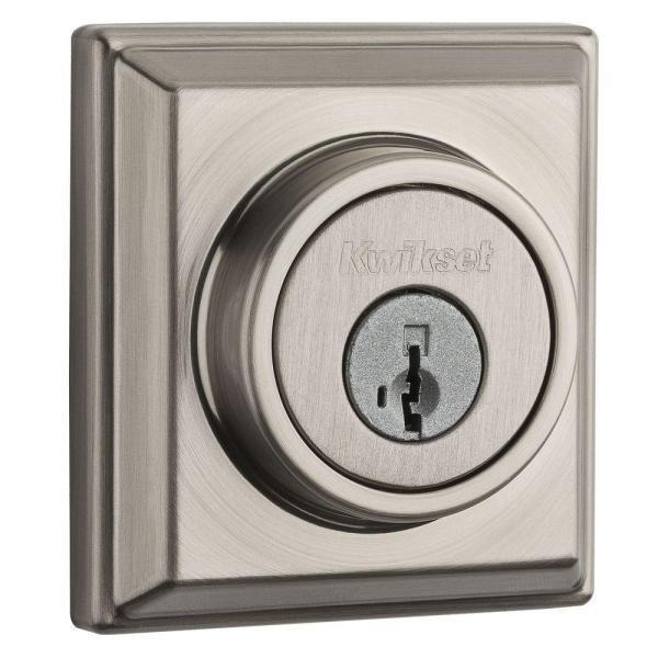 Kwikset 910 Signature Series Contemporary Satin Nickel Single Cylinder Deadbolt with Home Connect Technology