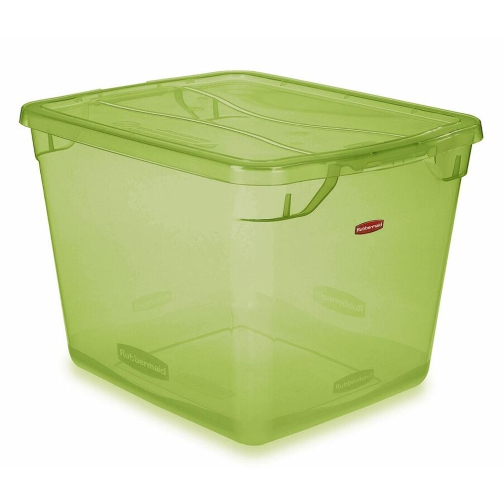 Bon Rubbermaid Clever Store 30 Qt. Non Latching Storage Tote In Clear Lime Green