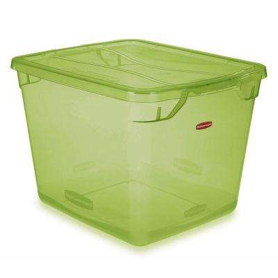 Clever Store 30 Qt. Non-Latching Storage Tote in Clear Lime Green