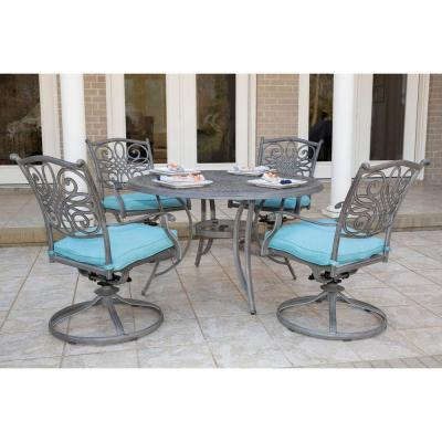 Traditions 5-Piece Aluminum Outdoor Dining Set with Blue Cushions 4-Swivel Rockers and a 48 in. Round Table