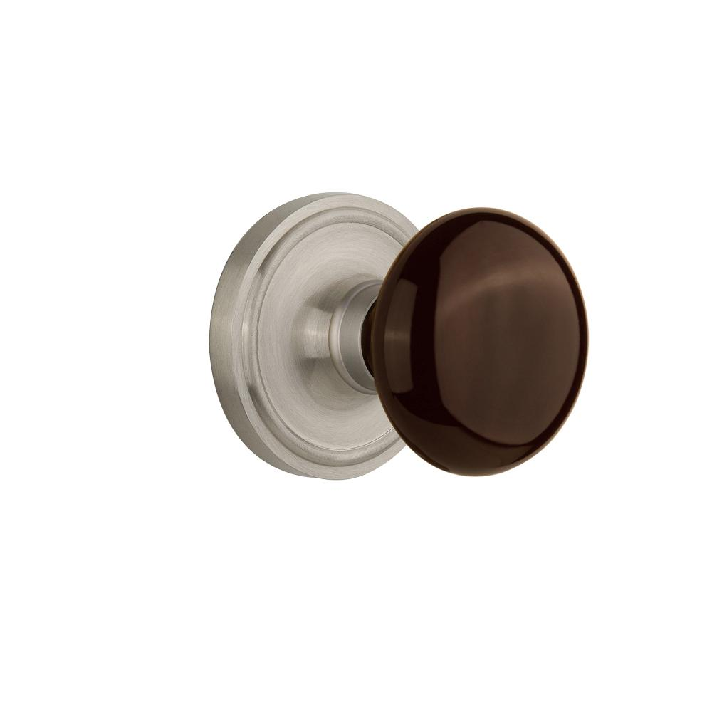 Classic Rosette Interior Mortise Brown Porcelain Door Knob in Satin Nickel