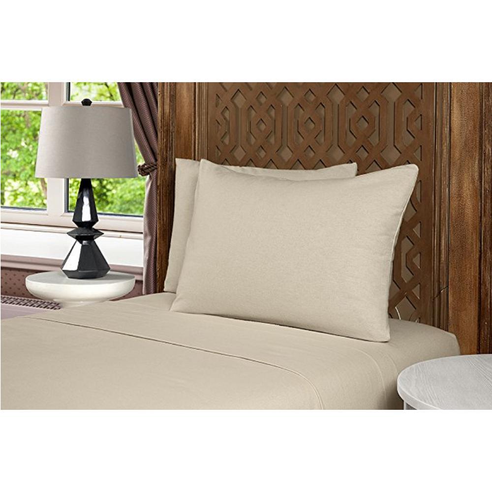 Geraldine 100% Cotton Beige Flannel Queen Sheet Set