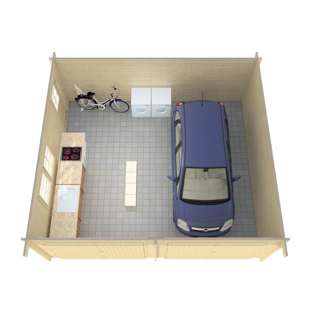 Log Garage D2 19.5 ft. x 17.42 ft. x 10 ft. Wood Log Garage Kit without Floor