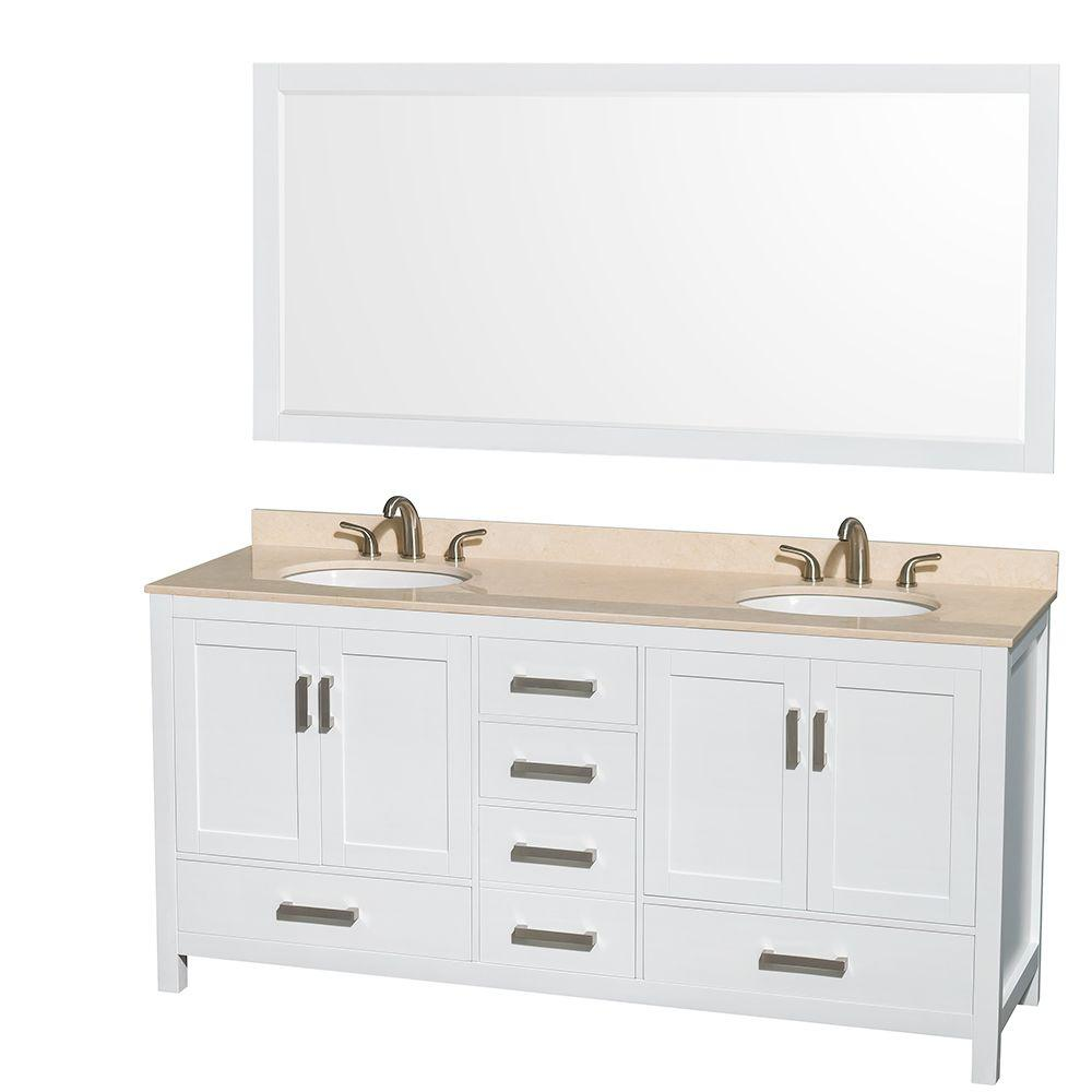 Wyndham Collection Sheffield 72 in. Double Vanity in White with Marble Vanity Top in Ivory and 70 in. Mirror