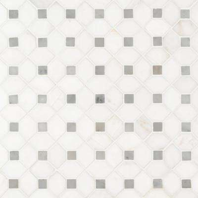 Bianco Dolomite Dotty 12.31 in. x 12.36 in. x 10mm Polished Marble Mesh-Mounted Mosaic Tile (10.6 sq. ft. / case)