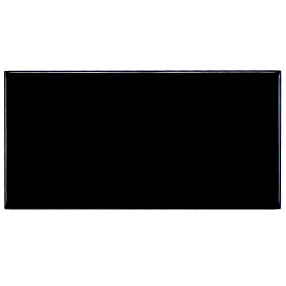 Merola Tile Plaqueta Lisa Negro 3 in. x 6 in. Black Ceramic Wall Tile (1 sq. ft. / pack)