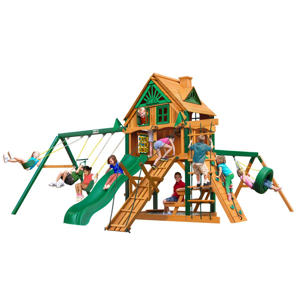 Frontier Treehouse Cedar Swing Set with Fort Add-On and Timber Shield