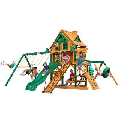 Frontier Treehouse Cedar Swing Set with Fort Add-On and Timber Shield Posts