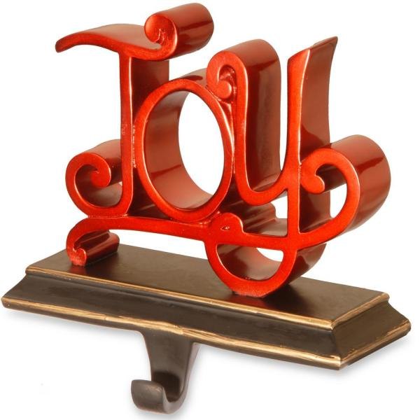 8 in. Polyresin JOY Red Decor Includes Base and Hook