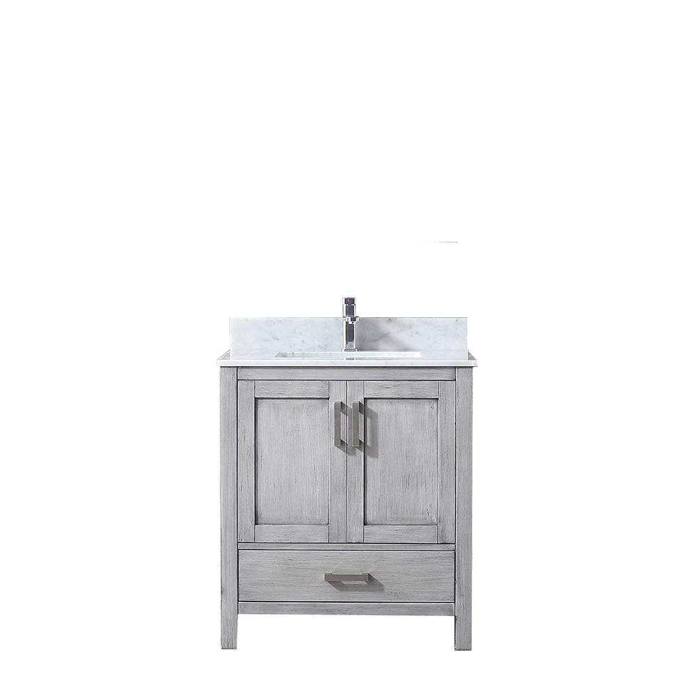"Lexora Jacques 30"" Single Vanity Distressed Grey, White Carrera Marble Top, White Square Sink and no Mirror"