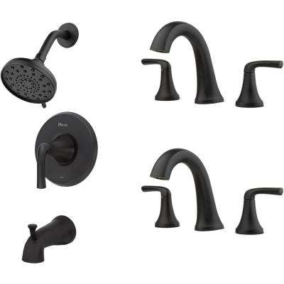 Ladera Single-Handle 3-Spray Tub and Shower Faucet and 8 in. Widespread Bathroom Faucet in Matte Black (2-Pack)