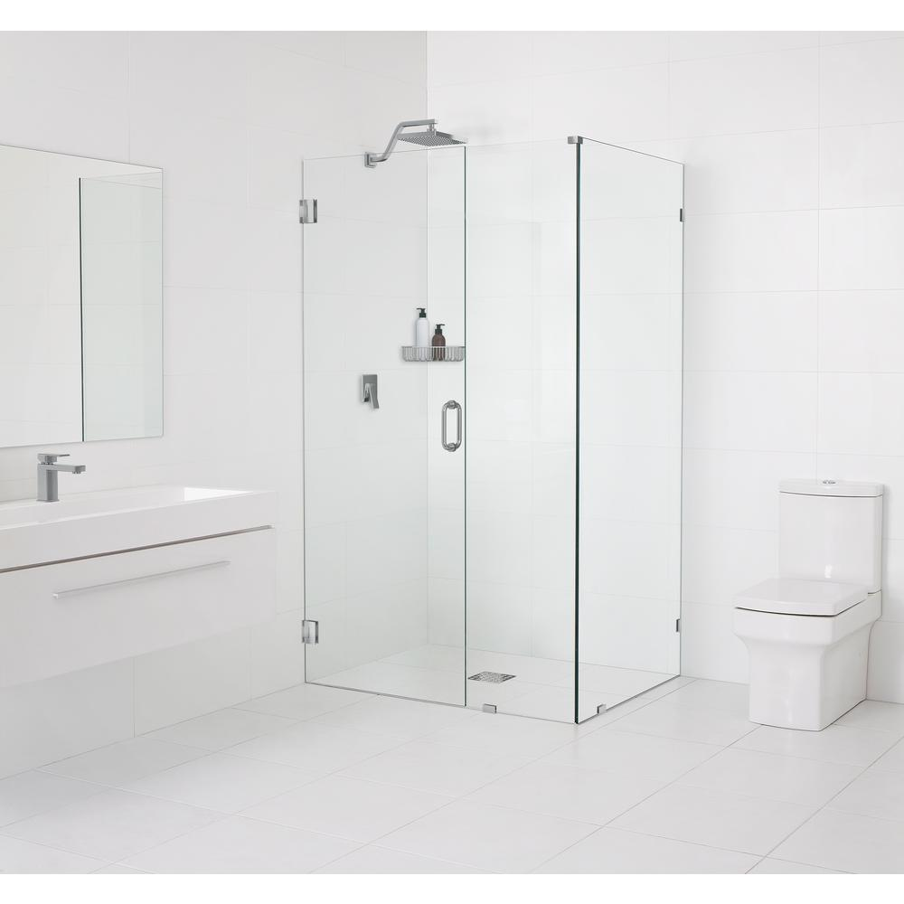 Glass Warehouse 33.5 x 78 in. x 34 in. Frameless 90 Degree Hinged Wall Shower Enclosure in Brushed Nickel