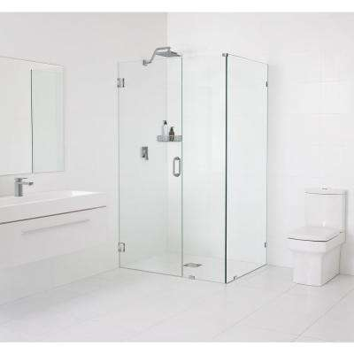 34.5 in. x 78 in. x 34 in. Frameless 90 Degree Hinged Wall Shower Enclosure in Brushed Nickel