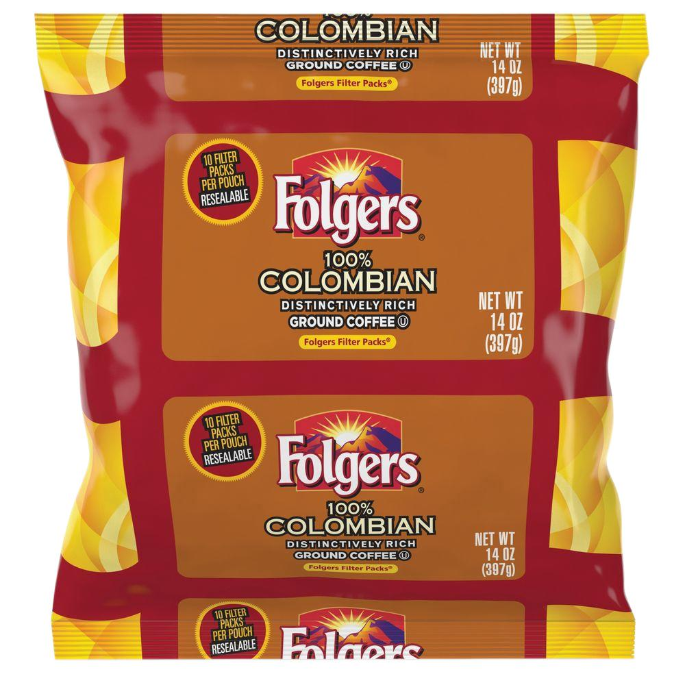 Folgers 14 oz. Colombian Ground Coffee Filter Pack Ground...