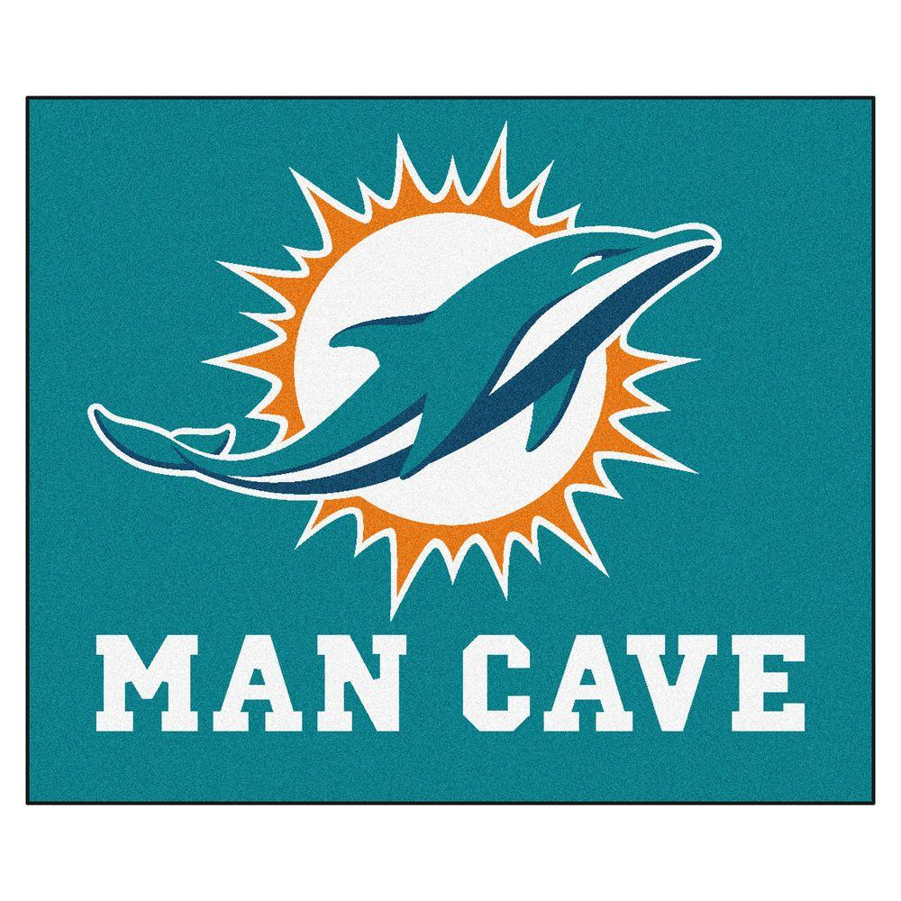 Fanmats Miami Dolphins Blue Man Cave 5 Ft X 6 Ft Area