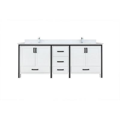 Ziva 84 in. W Double Bath Vanity in White with Marble Vanity Top in White Cultured, White Basins