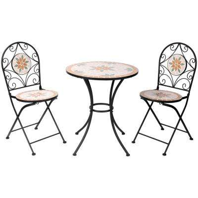 3-Piece Mosaic Outdoor Bistro Set, Tan