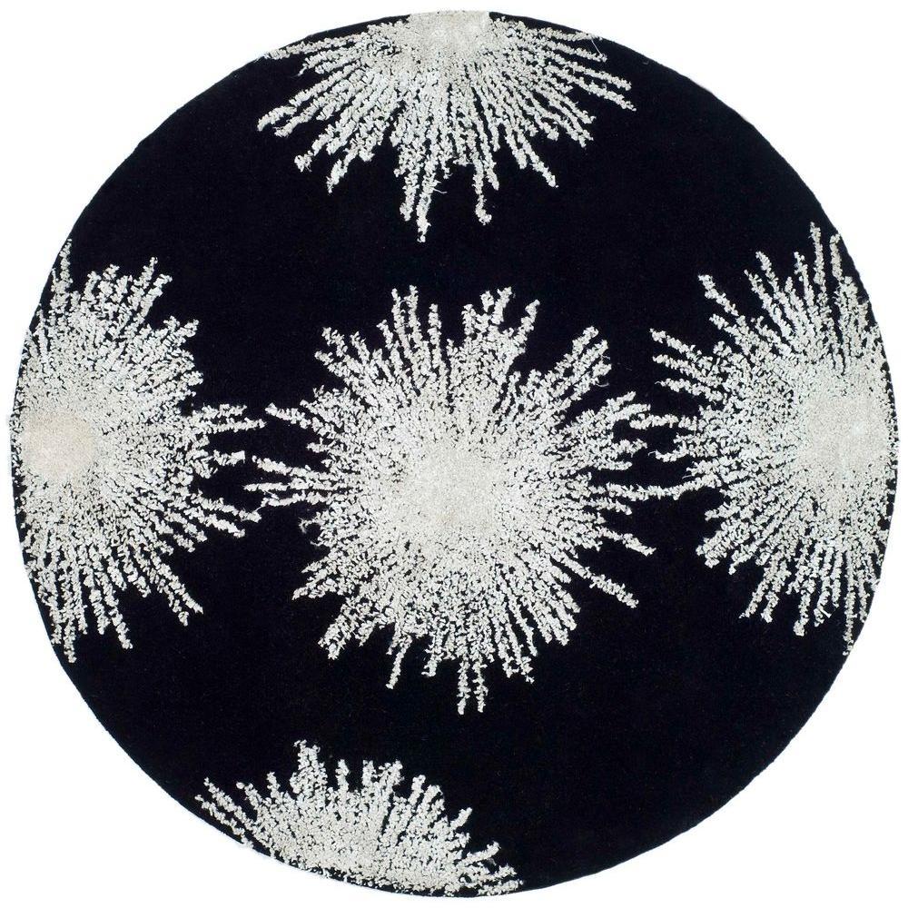 Celebration Black/White Wool 6 ft. x 6 ft. Round Area Rug