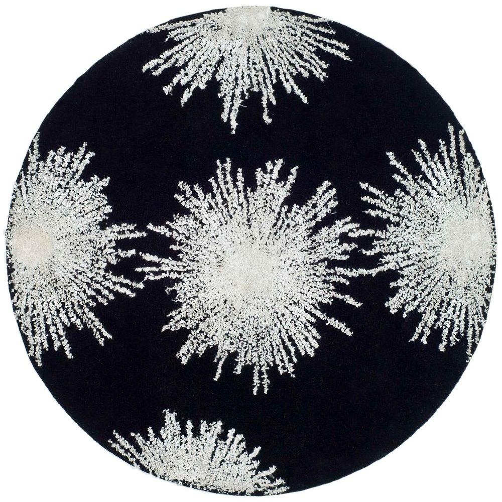 Safavieh Soho Black/White 8 Ft. X 8 Ft. Round Area Rug