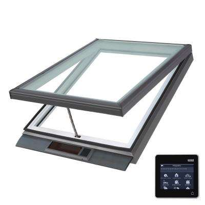 22-1/2 in. x 22-1/2 in. Solar Powered Fresh Air Venting Curb-Mount Skylight with White Laminated Low-E3 Glass