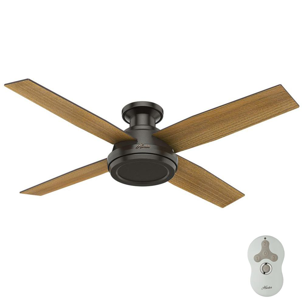 Dempsey 52 in. Low Profile No Light Indoor Noble Bronze Ceiling Fan with Remote