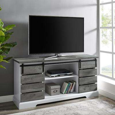 Grey Wash Farmhouse Sliding Slat Door TV Stand for TV's up to 64 in.
