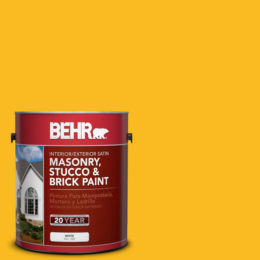 1 gal. #HDC-MD-02A Yellow Groove Satin Interior/Exterior Masonry, Stucco and