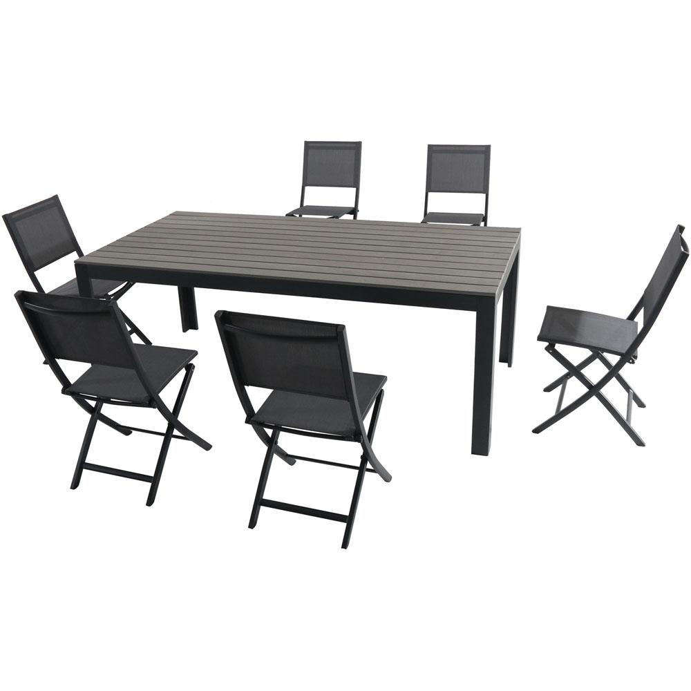 Phenomenal Hanover Tucson 7 Piece Aluminum Outdoor Dining Set With 6 Sling Folding Chairs And A Faux Wood Dining Table Machost Co Dining Chair Design Ideas Machostcouk