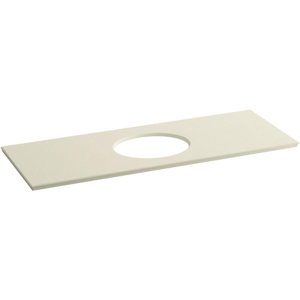 Solid/Expressions 61.625 in. Solid Surface Vanity Top in Almond Expressions