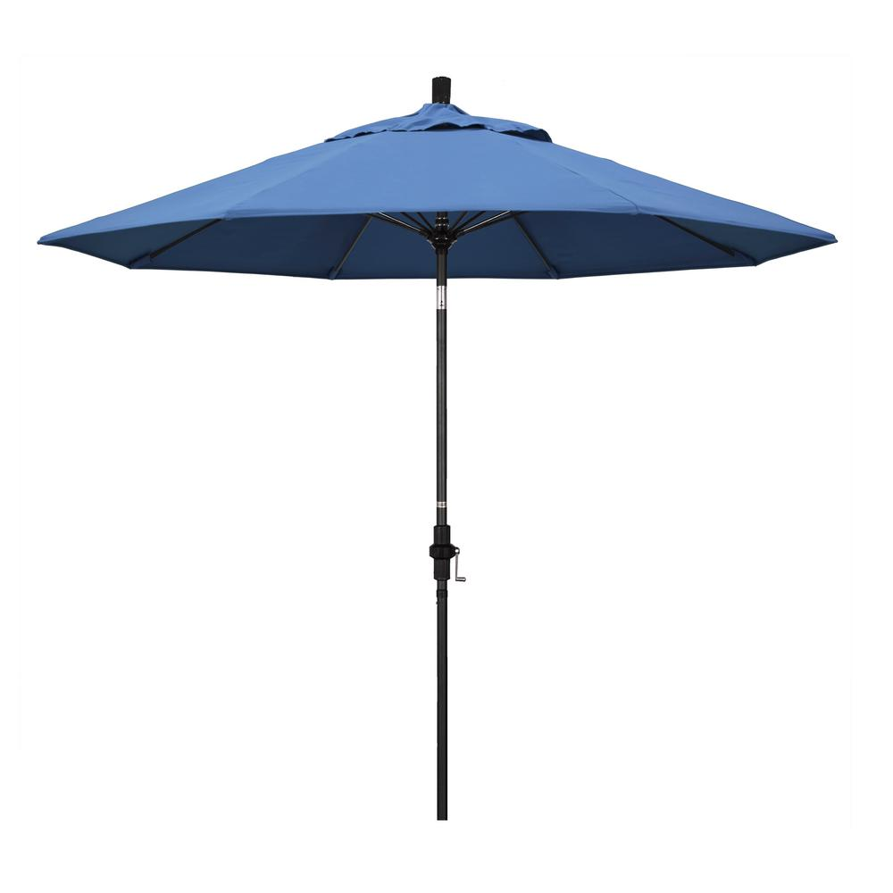 California Umbrella 9 ft. Matted Black Fiberglass Market Patio Umbrella Collar Tilt in Frost Blue Olefin
