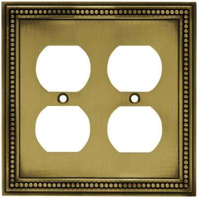 Beaded Decorative Double Duplex Outlet Cover, Tumbled Antique Brass