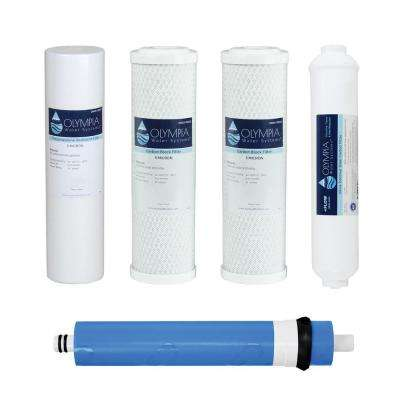 Complete 80 GPD 5-Stage Replacement Filter Set for Industry Standard Size Reverse Osmosis System