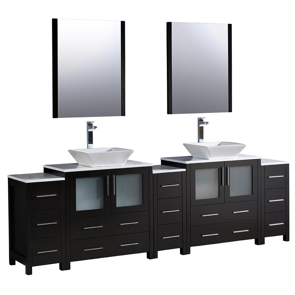 . Fresca Torino 96 in  Double Vanity in Espresso with Glass Stone Vanity Top  in White with White Basins and Mirrors