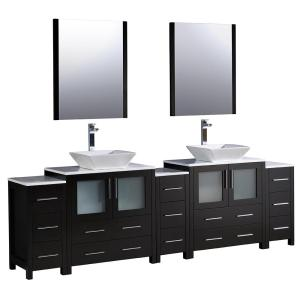 Fresca Torino 96 inch Double Vanity in Espresso with Glass Stone Vanity Top in White with White Basins and Mirrors by Fresca