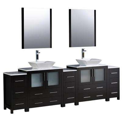 Torino 96 in. Double Vanity in Espresso with Glass Stone Vanity Top in White with White Basins and Mirrors