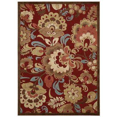 Graphic Illusions Red 5 ft. x 7 ft. Area Rug