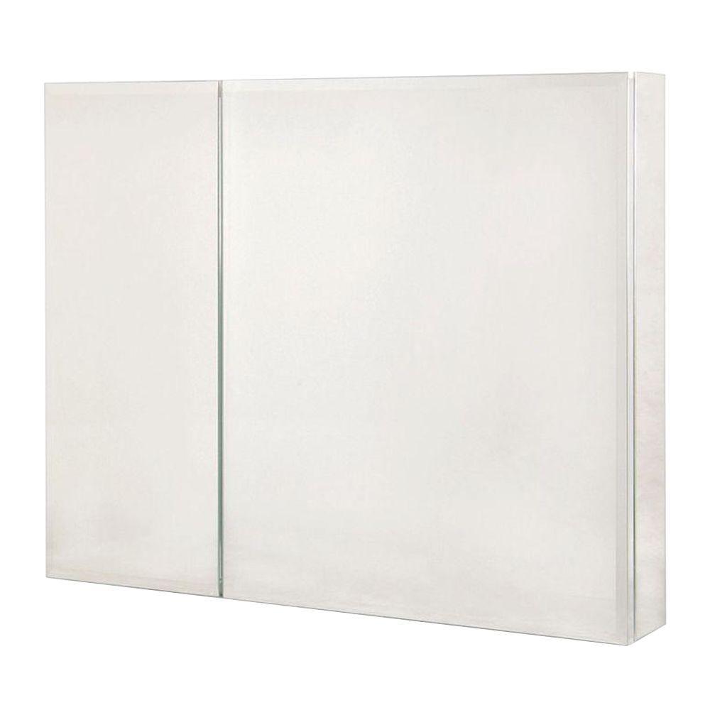 30 in. W x 26 in. H Recessed or Surface-Mount Bi-View Bathroom Medicine Cabinet with Beveled Mirror Door