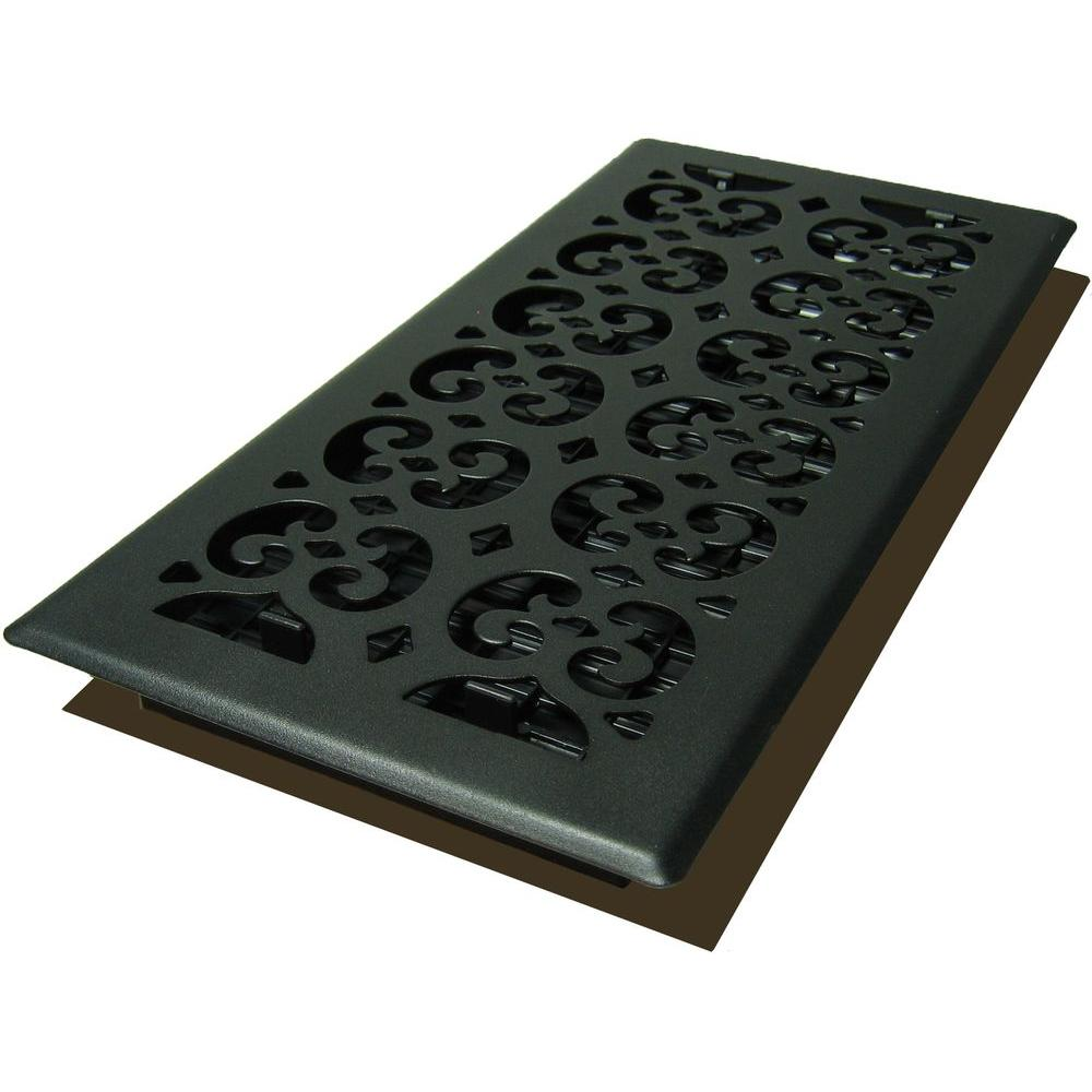 Decor Grates 6 In X 14 In Cast Iron Black Steel Scroll