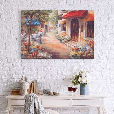 Caf Afternoon Lansapce Canvas Wall Art