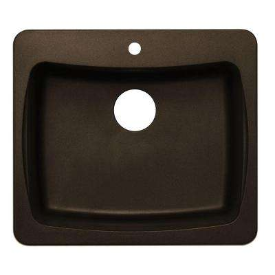 Dual Mount Granite 25 in. 1-Hole Single Bowl Kitchen Sink in Metallic Chocolate