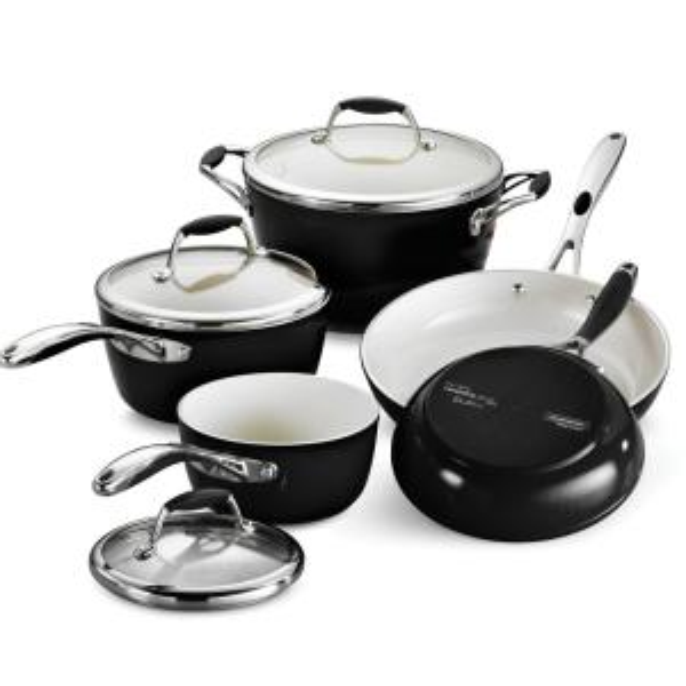 Tramontina Gourmet Ceramica Deluxe 8-Piece Metallic Black Cookware Set with Lids by Tramontina