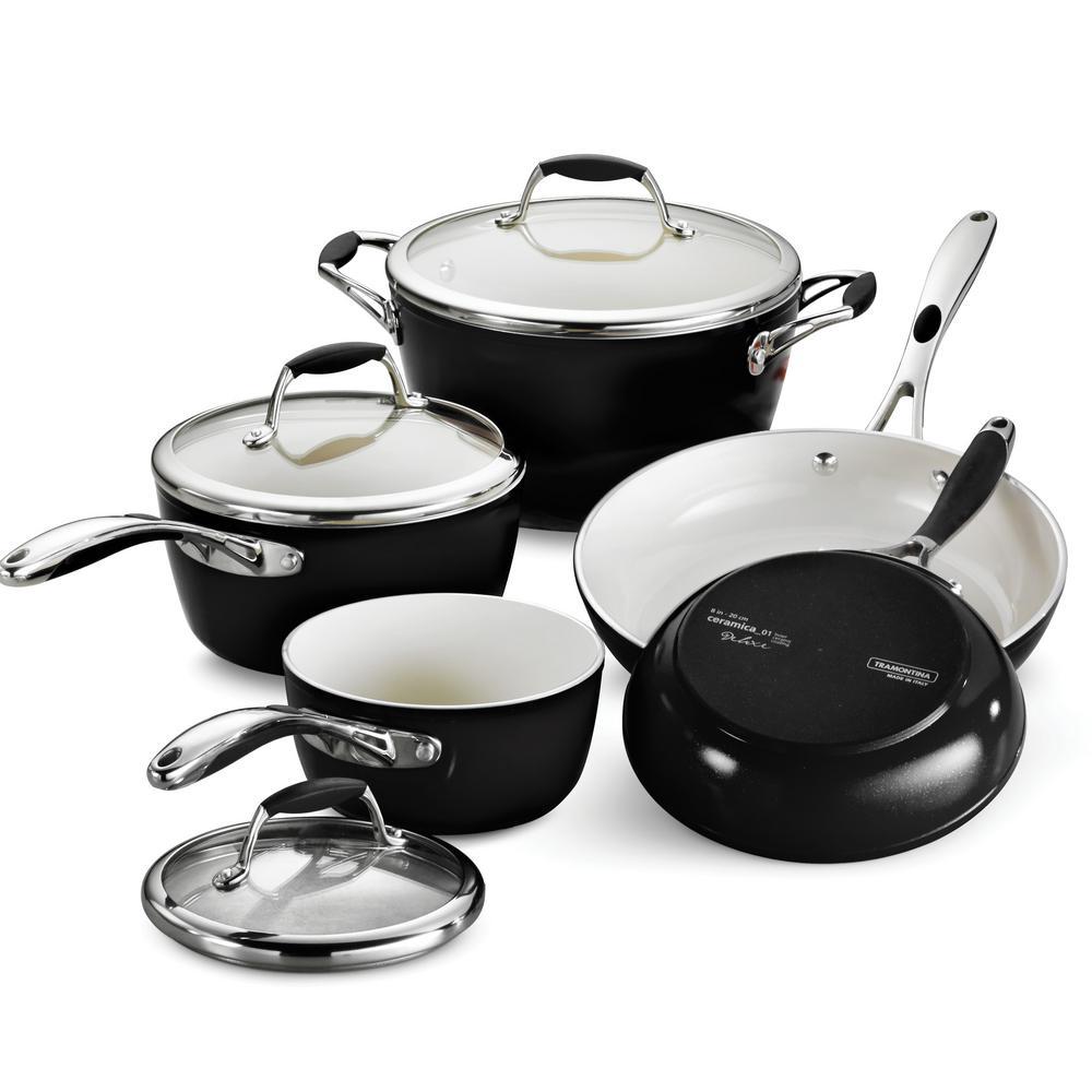 Gourmet Ceramica Deluxe 8-Piece Metallic Black Cookware Set with Lids